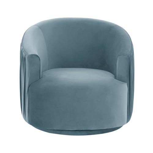 Tov Furniture - London Blue Pleated Swivel Chair