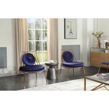 Modrest Dyna Modern Blue & Gold Accent Chair