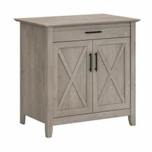 See Details - Secretary Desk with Keyboard Tray and Storage Cabinet, Washed Gray