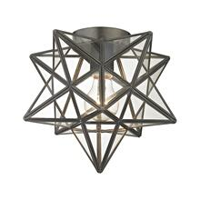 See Details - Moravian Star 1-Light Flush Mount in Bronze with Clear Glass