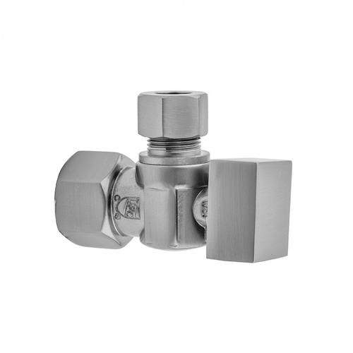 """Product Image - Polished Brass - Quarter Turn Angle Pattern 1/2"""" IPS x 3/8"""" O.D. Supply Valve with Square Handle"""