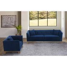 Product Image - Everest 2 Piece Blue Fabric Upholstered Sofa & Chair Set