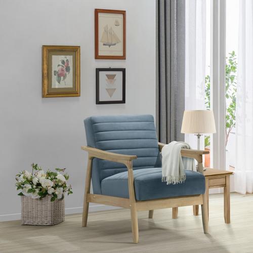 Horizontal Channeled Wood Frame Armchair