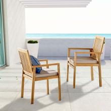 Farmstay Outdoor Patio Teak Dining Armchair Set of 2 in Natural Taupe