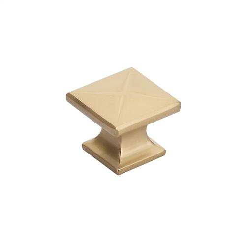 "Northport, Square Knob, 1-3/8"" diameter, Signature Satin Brass finish"