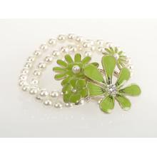 BTQ Green Flowers Pearl Bracelet