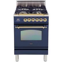 Nostalgie 24 Inch Gas Liquid Propane Freestanding Range in Blue with Brass Trim