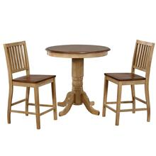 "DLU-BR3636CB-B60-PW3PC  3 Piece 36"" Round Pub Table Set with Slat Back Stools"
