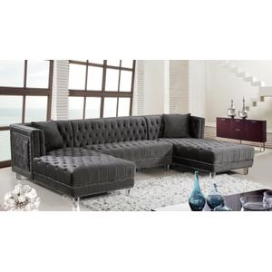 "Moda Velvet 3pc. Sectional - 127"" W x 68.5"" D x 31.5"" H"
