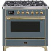 Majestic II 36 Inch Dual Fuel Natural Gas Freestanding Range in Blue Grey with Brass Trim
