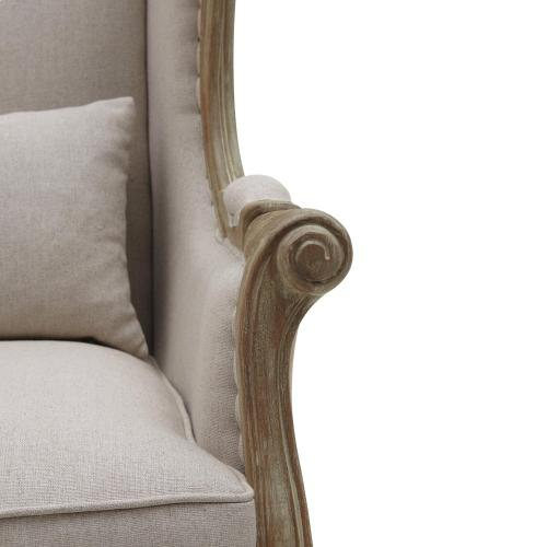 Guinevere Wing Arm Chair Brushed Smoke Frame, Light Sand/Burlap