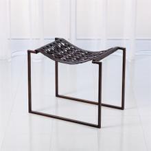 Knit Pearl Stool-Bronze-Dark Brown Leather