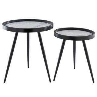 Krista KD Pattern Round End Table Set of 2, Zen White