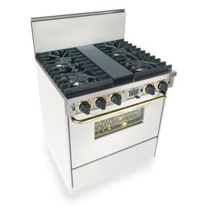 """Five Star - 30"""" Dual Fuel, Convect, Self Clean, Sealed Burners, White with Brass"""