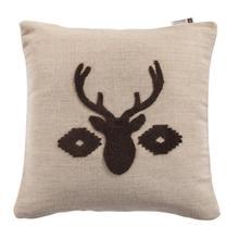Aztec Deer Bust Embroidered Burlap Throw Pillow