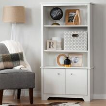 Vito - 3-Shelf Bookcase with Doors, Pure White