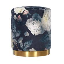 Opal Floral Velvet Ottoman - Gold Base
