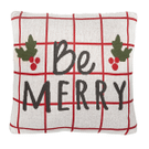 """Red & White Check """"Be Merry"""" Pillow Product Image"""