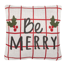 "Red & White Check ""Be Merry"" Pillow"