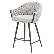 Fabian KD Fabric/ PU Counter Stool w/ Arms, Alpine Light Gray/ Fairfax Gray