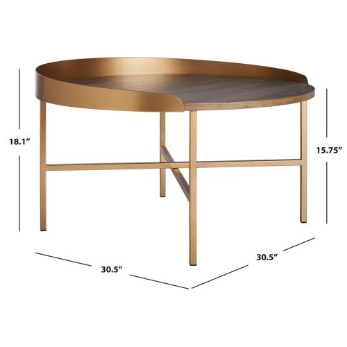Safavieh - Prague Round Coffee Table - Light Grey Oak / Gold