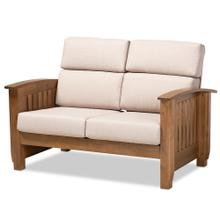 See Details - Baxton Studio Charlotte Modern Classic Mission Style Taupe Fabric Upholstered Walnut Brown Finished Wood 2-Seater Loveseat