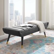 Guess Channel Tufted Performance Velvet Accent Bench in Gray