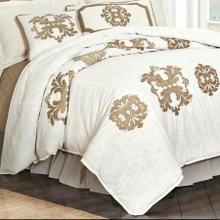 Madison White Linen Duvet Cover, Oatmeal - Super King
