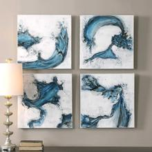 Swirls In Blue Hand Painted Canvases, S/4