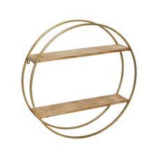 "See Details - Metal / Wood 26"" Wall Shelf, Gold"