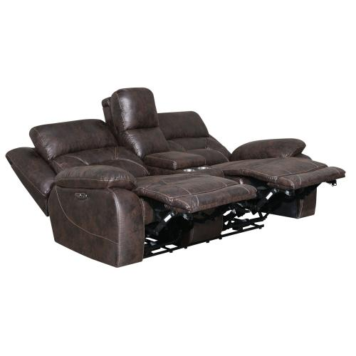 Aria Dual-Power Reclining Sofa, Saddle Brown