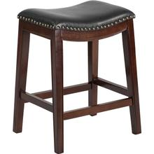 26'' High Backless Cappuccino Wood Counter Height Stool with Black LeatherSoft Saddle Seat