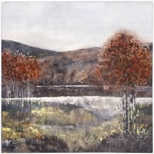 See Details - FALL LANDSCAPE  HAND EMBELLISHED  24in X 24in  Fall Landscape Featuring River streams Canvas