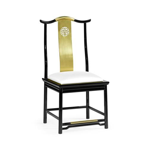 Asian Fusion Black Gloss & Brass Dining Side Chair, Upholstered in COM by Distributor