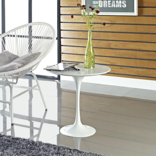 """Modway - Lippa 20"""" Marble Side Table in White"""