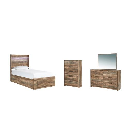 Twin Panel Bed With 5 Storage Drawers With Mirrored Dresser and Chest