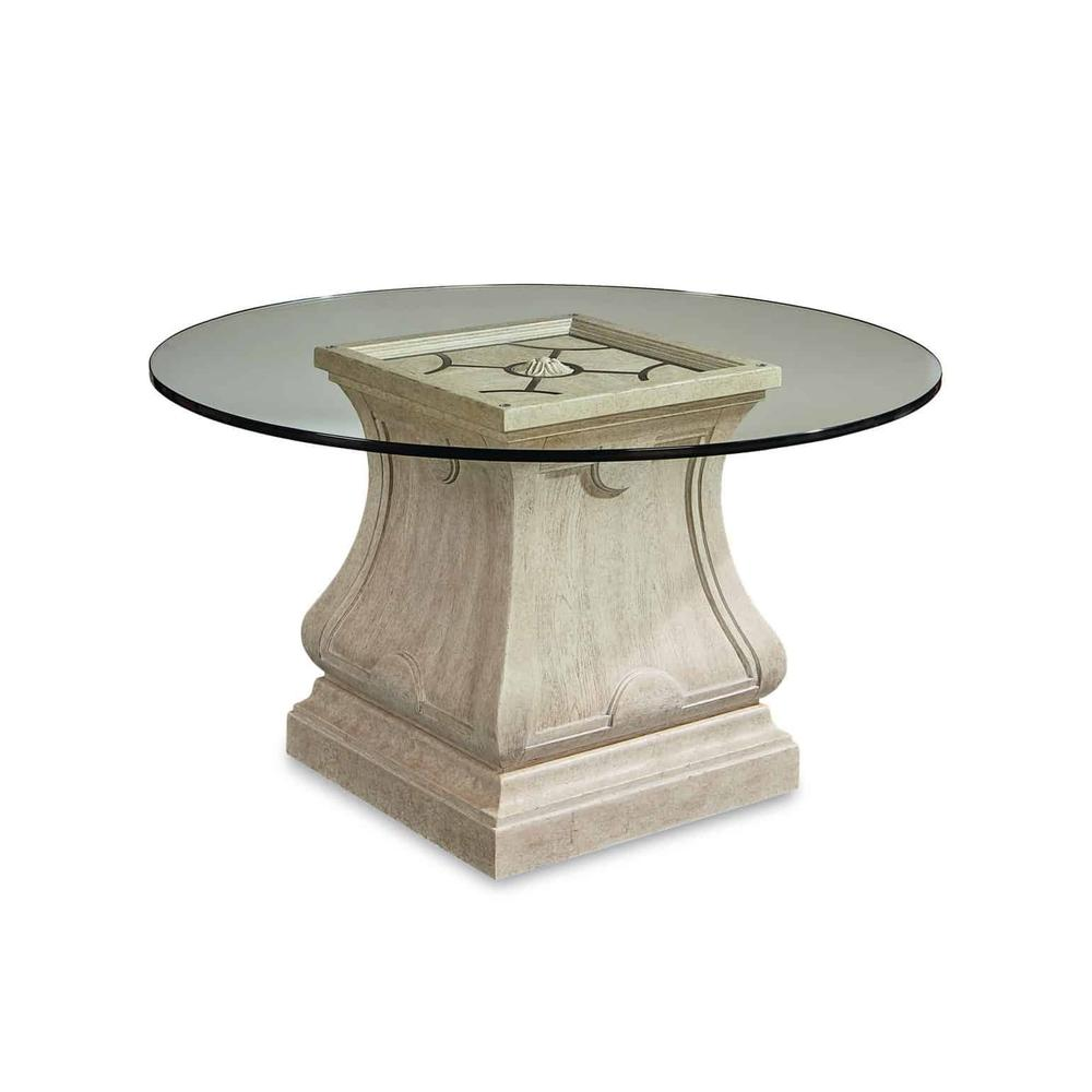 """See Details - Arch Salvage Leoni Round Dining with 54"""" Glass Top"""