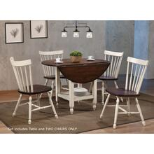 DLU-ADW4242S-C40AW3P  3 Piece Round Drop Leaf Dining Table Set with Shelf  Antique White and Chestnut Brown