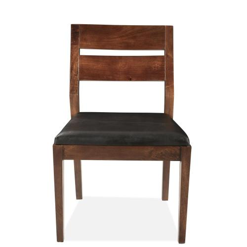 Mix-n-match Chairs - Slat Back Upholstered Side Chair - Hazelnut Finish