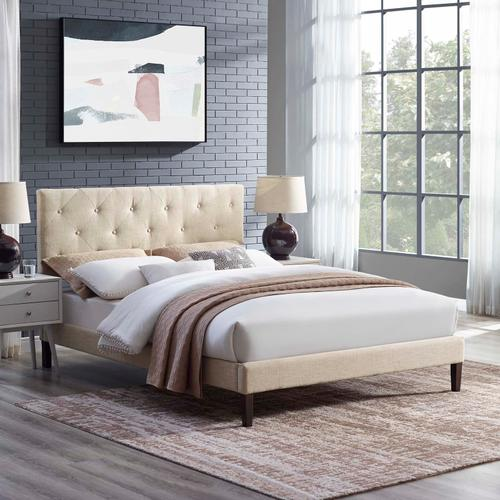 Modway - Tarah King Fabric Platform Bed with Squared Tapered Legs in Beige