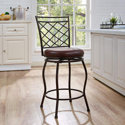 Diamond Lattice Back, Adjustable Height, Swiveling Metal Barstool