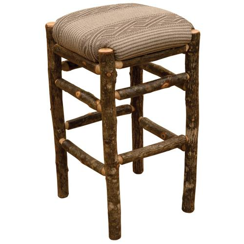 """Product Image - Square Counter Stool - 30"""" high - Natural Hickory - Standard Fabric"""