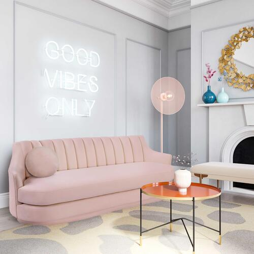 Peyton Blush Velvet Sofa