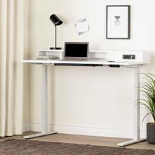 Adjustable Height Standing Desk with Built In Power Bar - Pure White