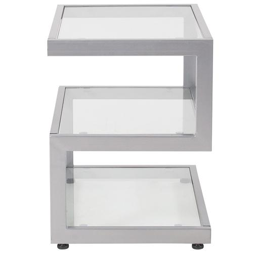 Flash Furniture - Ashmont Collection Glass End Table with Contemporary Steel Design