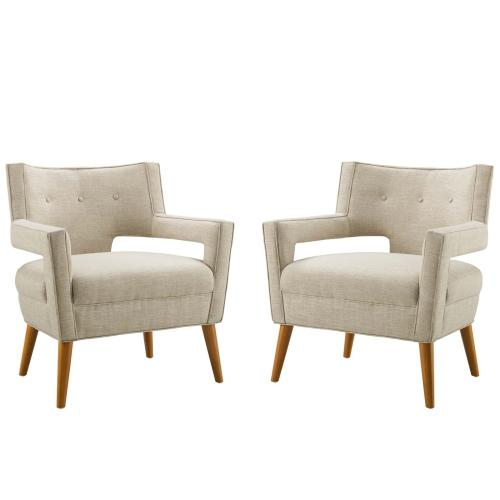 Modway - Sheer Upholstered Fabric Armchair Set of 2 in Sand