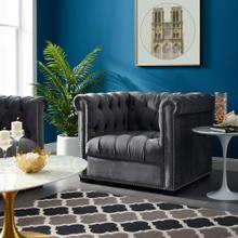 Heritage Performance Velvet Armchair in Gray