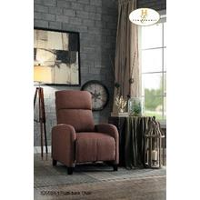 Push Back Recliner Brown Fabric