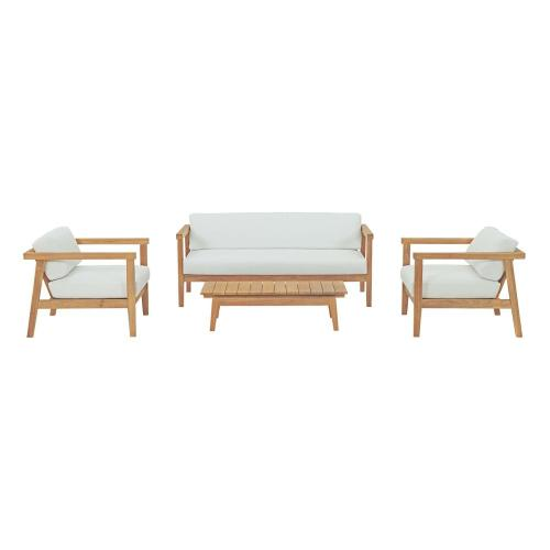 Bayport 4 Piece Outdoor Patio Teak Set in Natural White