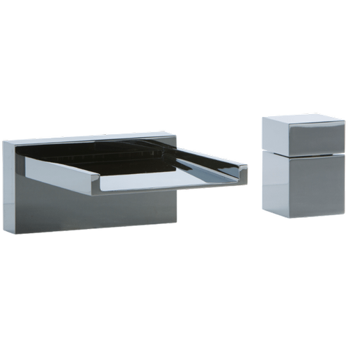 Quarto 2-Hole Deck Mount Open Chute Tub Filler with Cube Control
